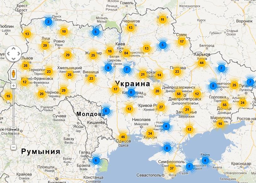 Карта филиалов